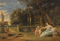 flora with three putti in a garden by frans wouters