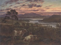 a red sky at night - loch fadh near rothesay, with arran in the distance by albert dunington