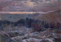 paysage au soleil couchant by rene quibel