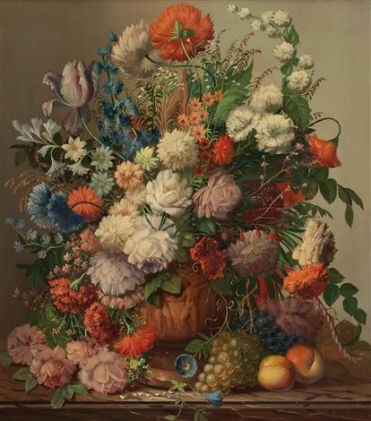 blumenstillleben mit früchten by josef kamenitzky steiner