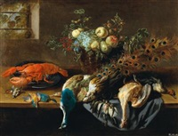 A still life with a peacock, fruit, a lobster...