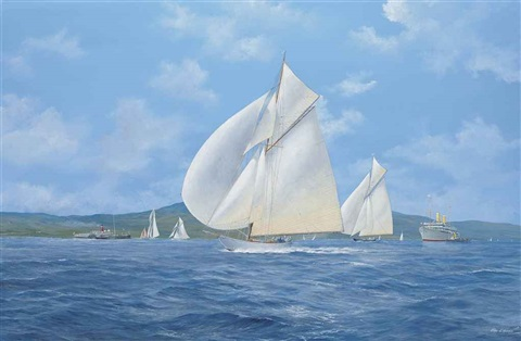 sonya and candida racing downwind on the clyde with the paddle steamer marmion lulworth and candida racing on the clyde pair by john j holmes