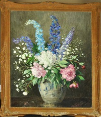 a mixed bunch - an arrangement of flowers in a vase by nan c. livingston