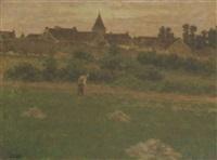 travaux aux champs au coucher du soleil by pierre-léon cassard