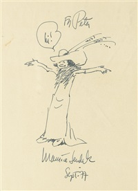 rosie with outstretched arms, in full really rosie regalia, saying hi! by maurice sendak