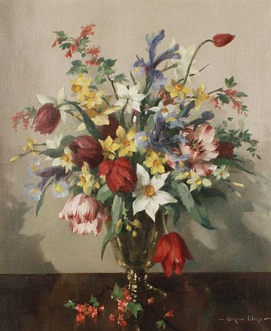 a still life of mixed flowers by vernon ward
