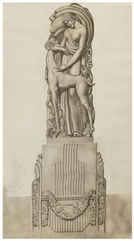 drawing prepared as out outdoor pedestal design for the waldorff astoria, new york by louis (pierre) rigal