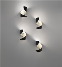 early set of four flammes wall lights by serge mouille