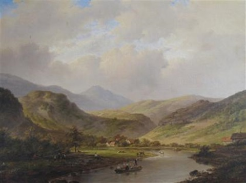 landscape with mountain and river by anglo american school 19