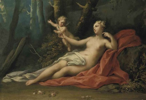 venus and cupid in a wooded landscape by jacopo amigoni