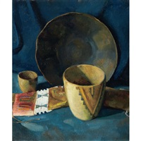 still life with native american bowls and tobacco pouch by luigi lucioni
