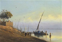 boarding a felucca on the nile by spyridon scarvelli