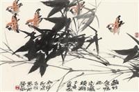 竹鸟图 镜心 纸本 by lin fengsu