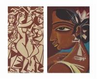 sala bhandini; nayika (the beloved) (2 works) by george keyt