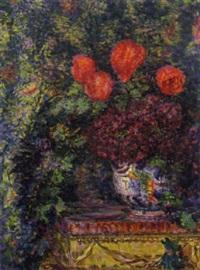 vaso con fiori, 1914 by enrico della (lionne) leonessa