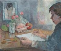 junger mann beim zeichnen eines stillebens mit früchten und muschel (wohl er selbst) by richard eberle