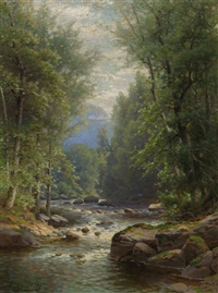 river landscape in summer by george w. waters