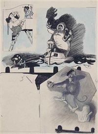 untitled (man on ladder and woman on balcony, inuit and walrus, monkey and skull) by lyonel feininger