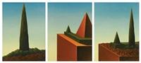cyprès - pyramide et cône de buis - cyprès et cône de buis (triptych) by gabriel anastassios