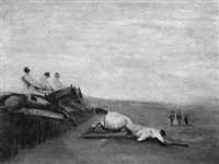 a tumble on the steeple chase course by alfred feiks