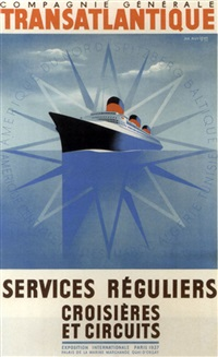 "the ""s.s. normandie"", exposition internationale paris, 1937 by jean auvigne"