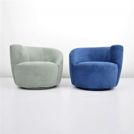 Delicieux Nautilus Swivel Chairs (pair) By Vladimir Kagan