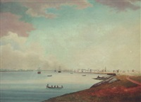 view of the hooghly river, calcutta, looking upriver by william (captain) baillie