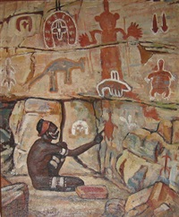 pre-hunting ceremonial painting by vlase zanalis