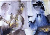 el pintor y la modelo con mandolina by antonio valdivieso