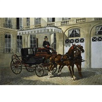 the count of luart's coupé de gala and his waiting coachman by ernest alexandre bodoy