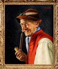 the blue neckerchief - a bust portrait of a man in tyrolean costume by franz xavier wölfle