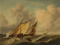 bateaux de pêche en mer by jan hendrik boshamer
