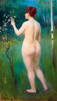 nude standing spring by manó (emanuel) vesztróczy