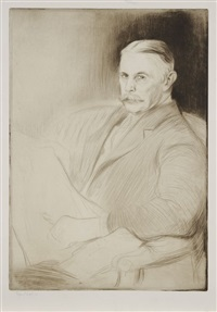 portrait de monsieur w. maltass et le canal de la villette (2 works) by edgar chahine