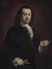 portrait of a gentleman, half-length, in a black coat, with a white stock and lace cuffs, with gloves in his right hand by carlo amalfi