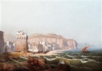 view of an italian fortress, (in salerno?) by august friedrich wilhelm nothnagel
