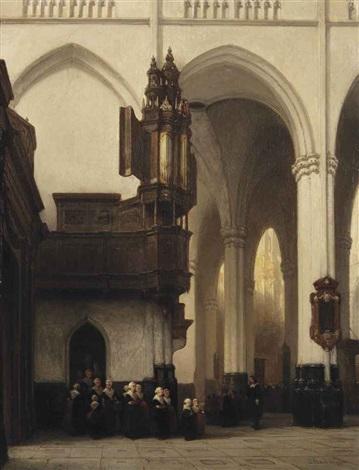 the interior of the nieuwe kerk in amsterdam with burgerweesmeisjes near the transept organ by johannes bosboom
