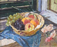 still life with a basket of fruit by edward le bas