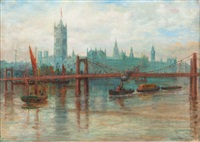 houses of parliament, the palace of westminster, river thames, london by david e. hutton