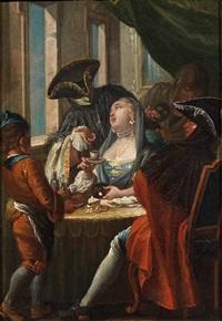 scena galante con personaggi in maschera by francesco zugno the younger
