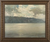 the hudson river with sunlight on the palisades by bayard henry tyler