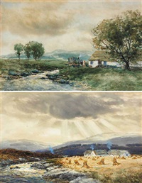 hay stooks and cabins by a river and a thatched cottage and caravan by a stream (pair) by john hamilton glass