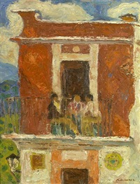 three figures on a balcony by mabel alvarez