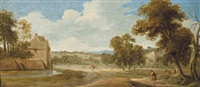 a wooded landscape with cattle and travellers on a track before a village on a shore by paolo anesi