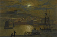 whitby from scotch head, moonlight on the esk by john atkinson grimshaw