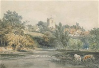 leatherhead, surrey (from across the river mole, with cattle watering in the foreground) by joseph mallord william turner
