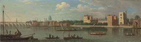 view across the river thames to lambeth with westminster bridge and st pauls cathedral beyond by samuel scott