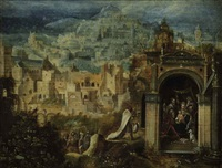 an extensive landscape with the adoration of the magi by herri met de bles