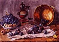 bodegón con frutas y molinillo by vicente pastor calpena
