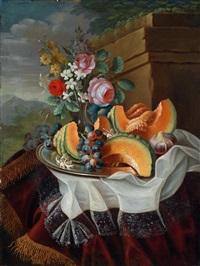 stillleben mit melone, weintrauben und blumen by maximilian pfeiler